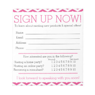 Pink and White Chevron Contact Information Form Notepads
