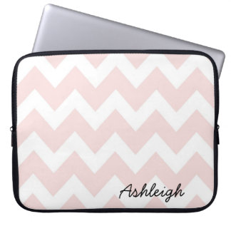 Pink and White Chevron Laptop Sleeve