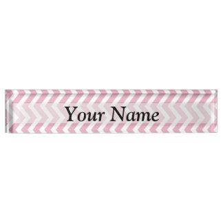 Pink and white chevron nameplate