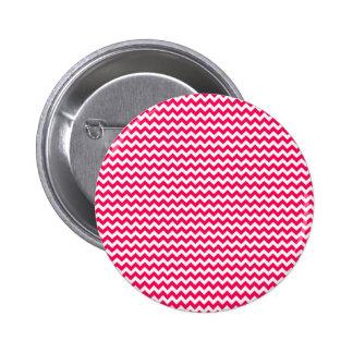 Pink and White Chevron Stripe Pinback Button