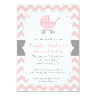 Pink and White Chevron, Stroller, Baby Girl Shower Card