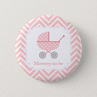 Pink and White Chevron Stroller Mommy to be 2 Inch Round Button