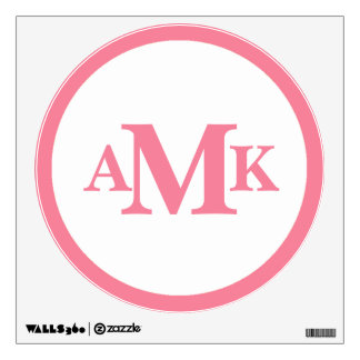 Pink and White Circle Monogram Wall Decal