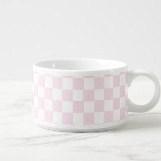 Pink And White Classic Retro Checkered Pattern Chili Bowl