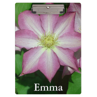 Pink and White Clematis Spring Flower Clipboards