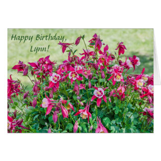 Pink and White Columbine	Blossoms and Buds Card