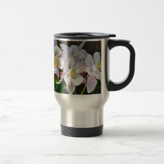 Pink and white columbine flowers travel mug