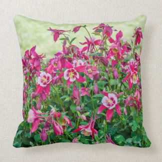 Pink and White Columbinewith Bright Green Leaves Throw Pillow