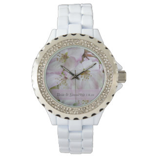 Pink and White Crab Apple Blossoms Wedding Watch