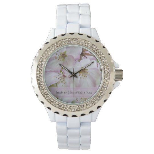 Pink and White Crab Apple Blossoms Wedding Wrist Watch