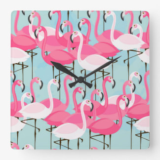 Pink And White Crowd Of Flamingos Clocks