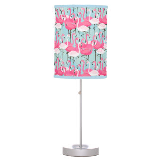 Pink And White Crowd Of Flamingos Table Lamps