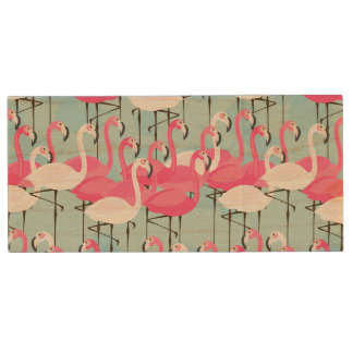 Pink And White Crowd Of Flamingos Wood USB 2.0 Flash Drive