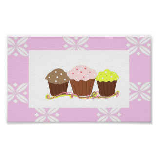 Pink and White Cupcake Design Poster