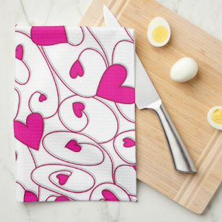 Pink and white curly hearts hand towel