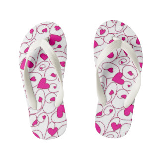 Pink and white curly hearts kid's flip flops
