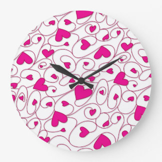 Pink and white curly hearts wallclock