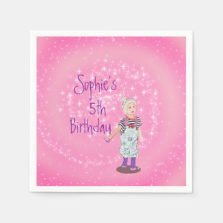 Pink and White Cute Girl Age Birthday Party Napkin