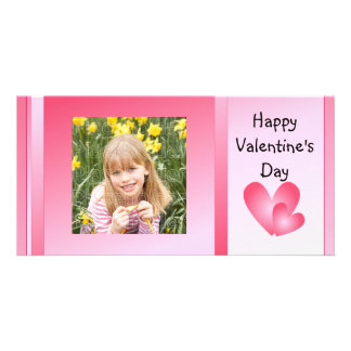 Pink and white cute hearts photo card template