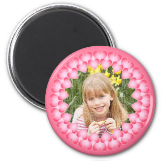 Pink and white cute hearts template magnet