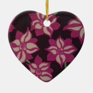 Pink and White Dahlia Pattern Ceramic Ornament