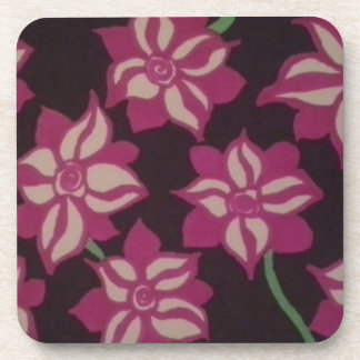 Pink and White Dahlia Pattern Coaster
