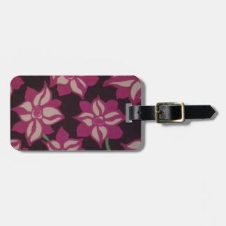 Pink and White Dahlia Pattern Luggage Tag