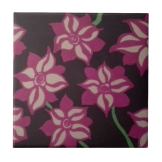 Pink and White Dahlia Pattern Tile