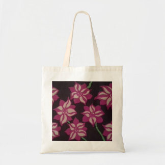 Pink and White Dahlia Pattern Tote Bag