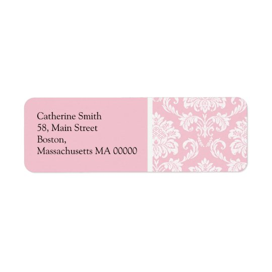 Pink and White Damask Address Labels