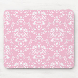 Pink and White Damask Mouse Pad