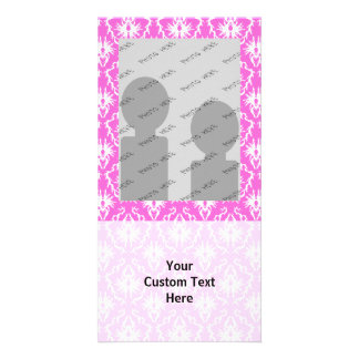 Pink and White Damask pattern Photo Card Template