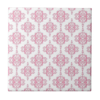 Pink and White Damask Pattern Tile