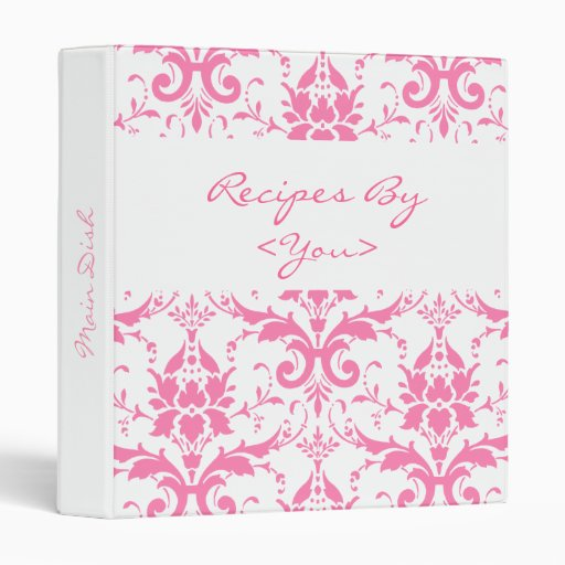 Pink and White Damask Recipe Cook Book Binder