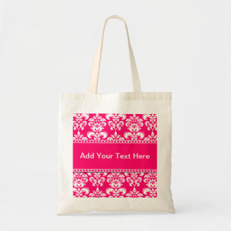 Pink and White Damask Tote Bags Customizable