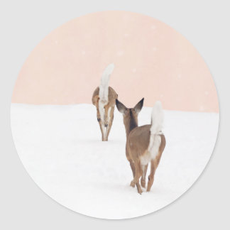 Pink and White Deer Sticker