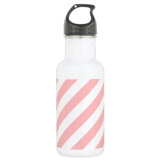 Pink and White Diagonal Stripes Pattern 532 Ml Water Bottle