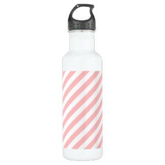 Pink and White Diagonal Stripes Pattern 710 Ml Water Bottle