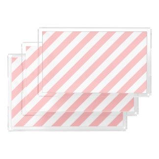 Pink and White Diagonal Stripes Pattern Acrylic Tray