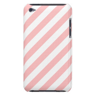 Pink and White Diagonal Stripes Pattern Barely There iPod Covers