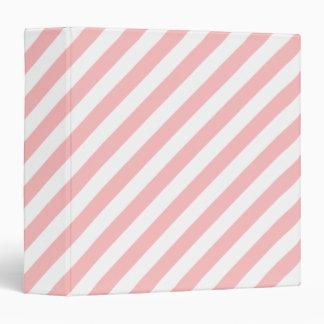 Pink and White Diagonal Stripes Pattern Binders