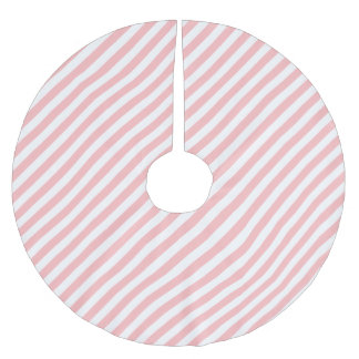 Pink and White Diagonal Stripes Pattern Brushed Polyester Tree Skirt