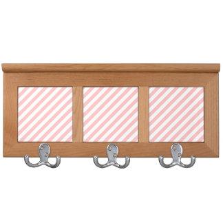 Pink and White Diagonal Stripes Pattern Coat Rack