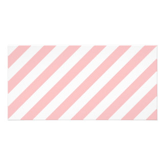 Pink and White Diagonal Stripes Pattern Customized Photo Card