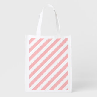 Pink and White Diagonal Stripes Pattern Grocery Bag
