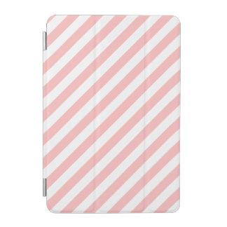 Pink and White Diagonal Stripes Pattern iPad Mini Cover
