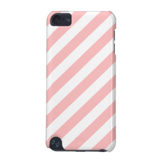Pink and White Diagonal Stripes Pattern iPod Touch (5th Generation) Case