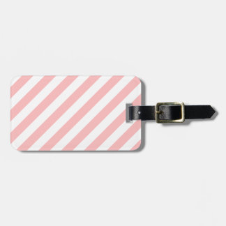 Pink and White Diagonal Stripes Pattern Luggage Tag