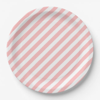 Pink and White Diagonal Stripes Pattern Paper Plate
