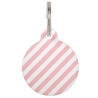 Pink and White Diagonal Stripes Pattern Pet ID Tag